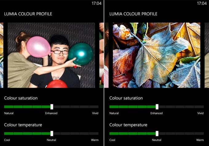 Nokia Lumia Amber new color settings