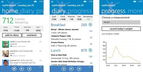 myFitnessPal WP8 screens