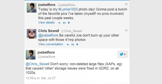 Joe Belfiore Twitter post