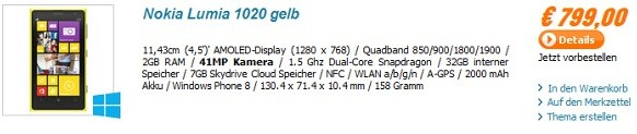 Nokia lUmia 1020 in Germany priced 799euro