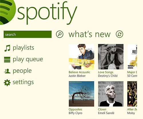 Spotify for Windows Phone 8 screens