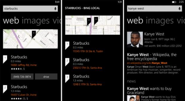 Bing search results on Windows Phone 8 get a new design 1