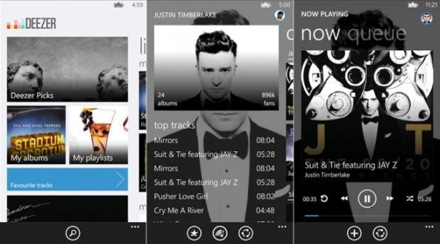 Deezer screens for Windows Phone