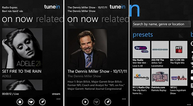 TuneIn screens for Windows Phone