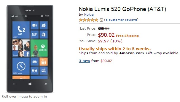 Lumia 520 for $90 at Amazon in the US