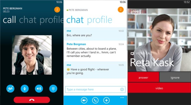 Skype Video Messaging Screens
