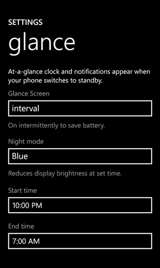 The new Lumia Glance Screen with new color options for night mode