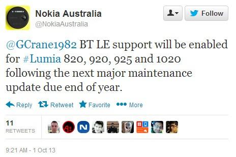 Nokia Australia twitter Bluetooth 4.0 LE