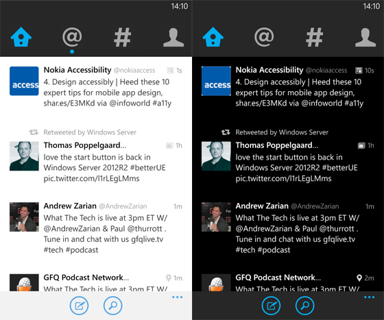 Screenshot of the new Twitter for Windows Phone version 3.0