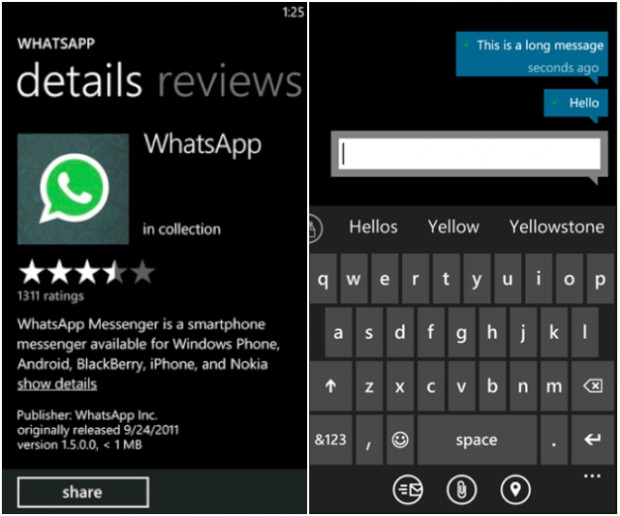 Screenshot of whatsapp for Windows Phone
