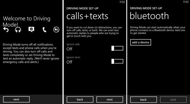 Windows Phone GDR 3 Driving Mode screenshot