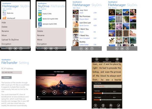 File Explorer for Windows Phone screens