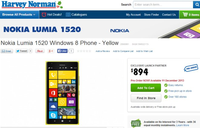 Harvey Norman - Lumia 1520 sale