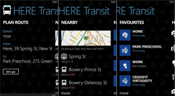 HERE Transit for Windows Phone 8 screens
