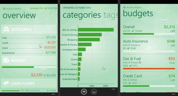 Screen of Mint for Windows Phone