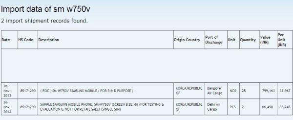 Samsung SM-W750V windows phone 8 device in the listing