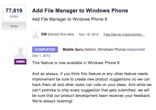 Windows Phone User Guide webpage screenshot