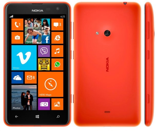 an orange Lumia 625 - back and front