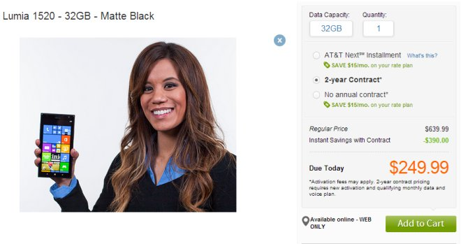 Lumia 1520 at AT&T Online store