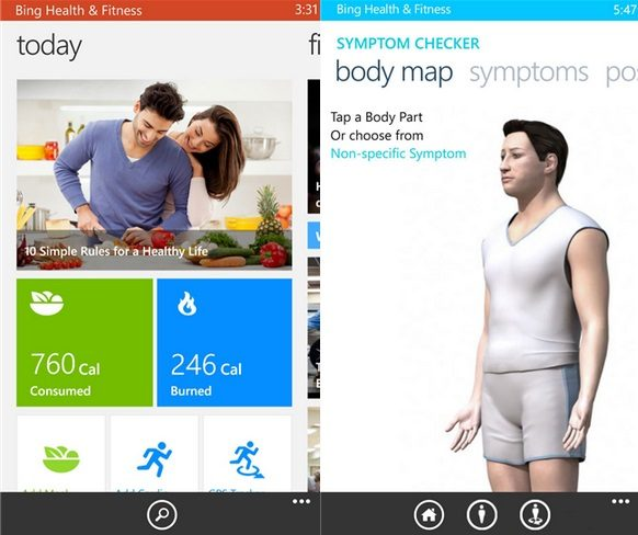 Bing Health and fitness app