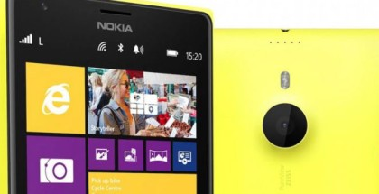 Nokia Lumia 1520 front and back in yellow matte