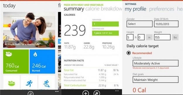 Bing health and Fitness Beta app for WP8