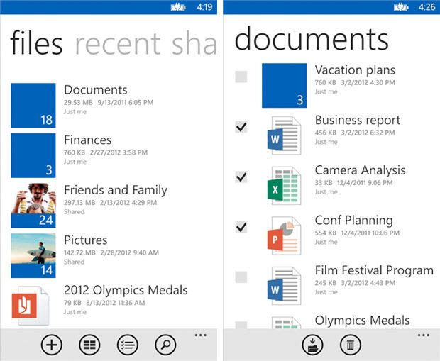 OneDrive screenshots for Windows Phone 8