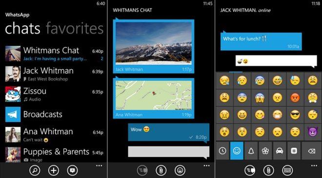 screens WhatsApp app messenger windows phone