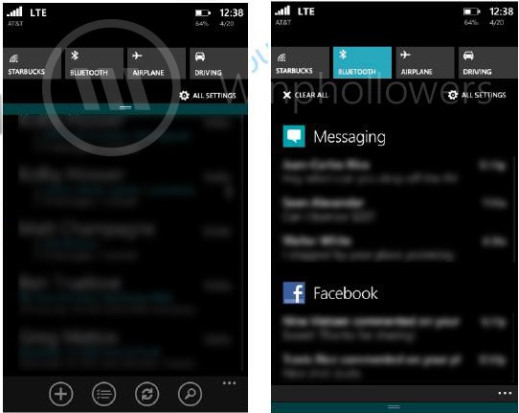 Screenshot of Windows Phone 8.1 Action Center