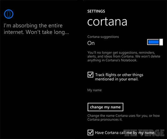 cortana digital assistant Windows phone 8.1 settings