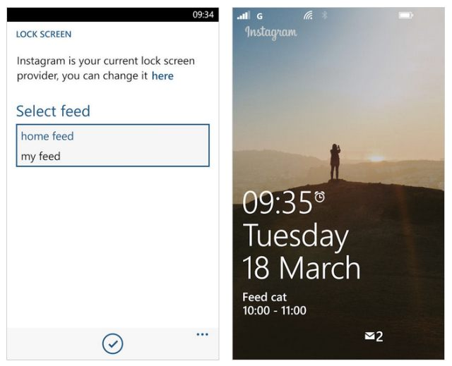 Instagram Windows Phone lock screen