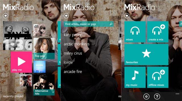 Screenshots of Nokia MixRadio for Windows Phone