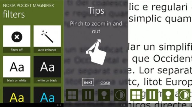 Nokia Pocket Magnifier for Windows Phone , screens
