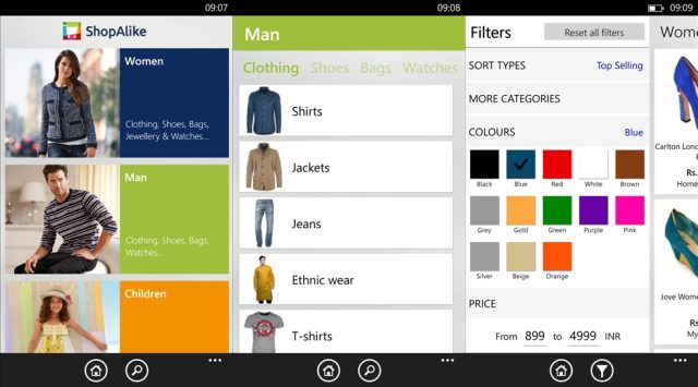 screens of shopalike app for windows phone
