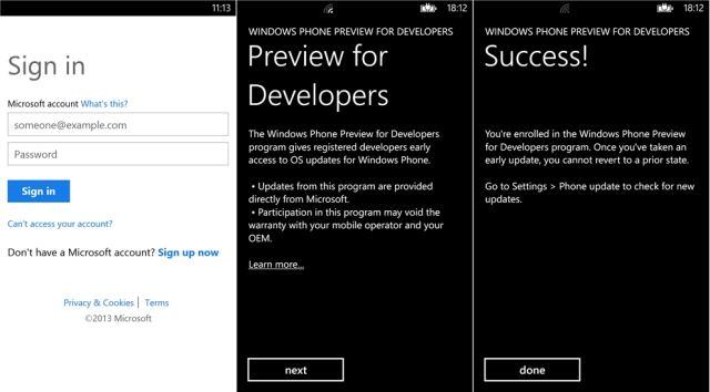 Preview for Developers program screens