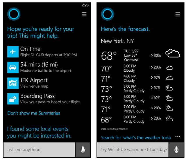 Cortana Windows Phone 8.1 screens