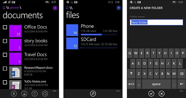 screenshots windows phone 8.1 File manager app