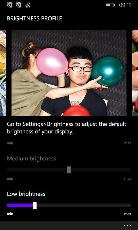 brightness slider Lumia Cyan Update