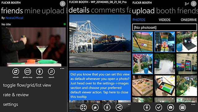 Flickr Booth app for Windows Phone - screens