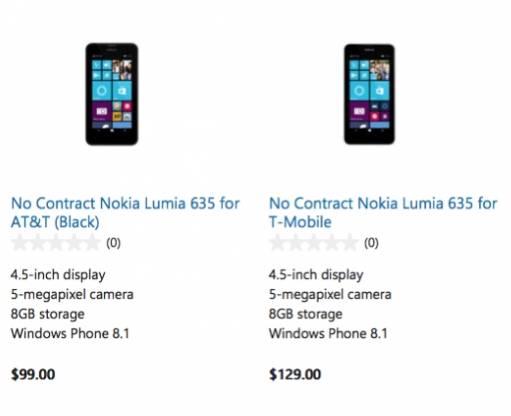 Nokia Lumia 635 sells on microsoft store