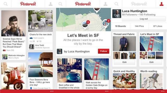 Pinterest app for Windows Phone 8.1 screens