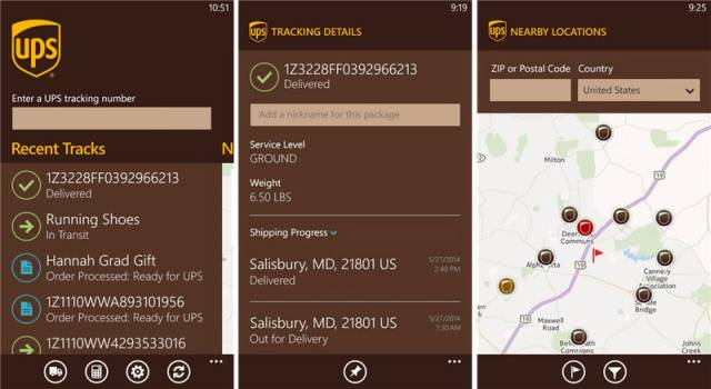 UPS App windows phone 8.1 screens
