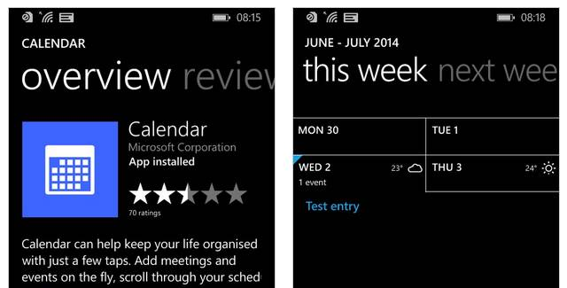 Calendar App for Windows Phone 8.1