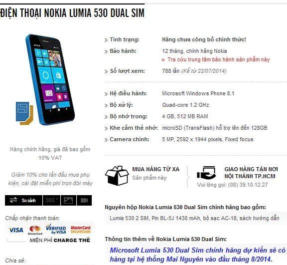 Leaked specs of Lumia 530 low-entry phone