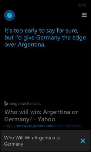 Cortana prediction for World Cup Final in Brazil 2014: Germany vs Argentina