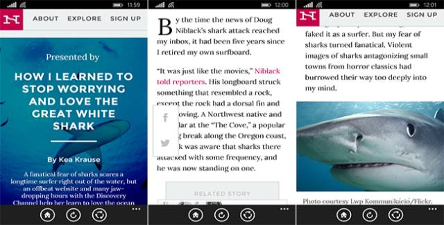 Narratively app for windows phone