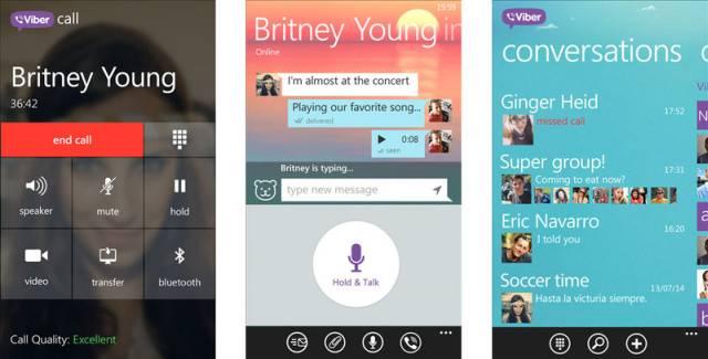 Viber app screens