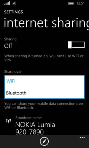 Internet sharing over Bluetooth is a new option for Windows