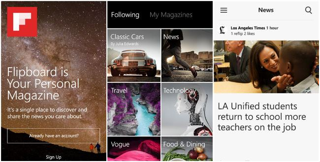 Flipboard screens for windows phone