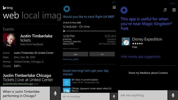 Bing Cortana updates October 2014